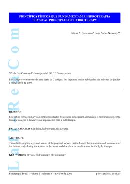 Princípios Físicos que FUndamentam a Hidroterapia