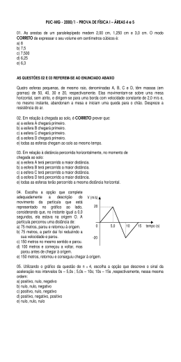 PUC-MG - 2000/1 - PROVA DE FÍSICA I – ÁREAS 4 e 5 01
