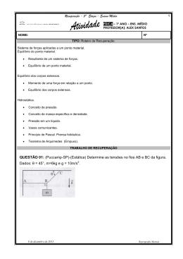 Recuperação - 3ª Etapa – Ensino Médio QUESTÃO 01: (Puccamp