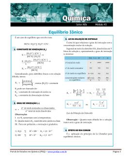 Equilíbrio Iônico - Portal de Estudos em Química