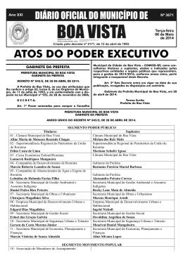dom nº 3671a.indd - Prefeitura Municipal de Boa Vista