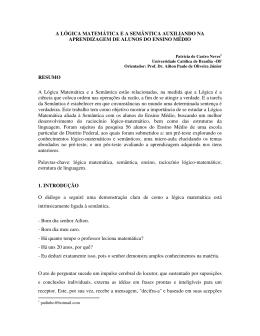 A LÓGICA MATEMÁTICA E A SEMÂNTICA AUXILIANDO NA