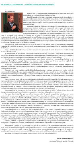 DISCURSO DO CEO, VALDIR VENTURA – CURSO