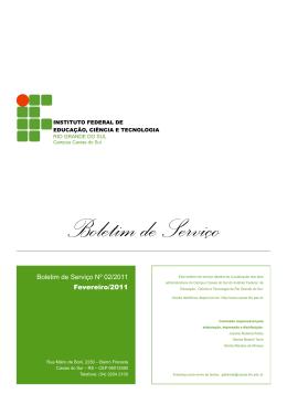 Boletim de Serviço Nº 02/2011 Fevereiro/2011