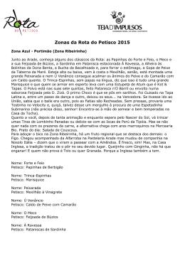 Zonas da Rota do Petisco 2015