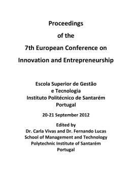 Proceedings of the 7th European Conference on Innovation and