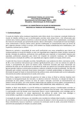 O CUIDAR E AS COMPETÊNCIAS DA EQUIPE DE