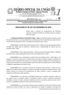 Resolução CNAS nº 39 - MINISTÉRIO DO Desenvolvimento Social
