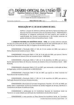 RESOLUÇÃO Nº 17, DE 20 DE JUNHO DE 2011.