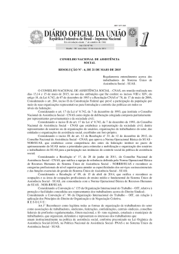 CONSELHO NACIONAL DE ASSISTÊNCIA SOCIAL RESOLUÇÃO