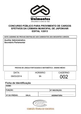 Caderno de Prova - 002 Auxiliar Administrativo/Secretário