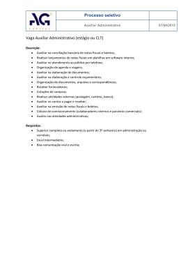 Processo seletivo Vaga Auxiliar Administrativo (estágio