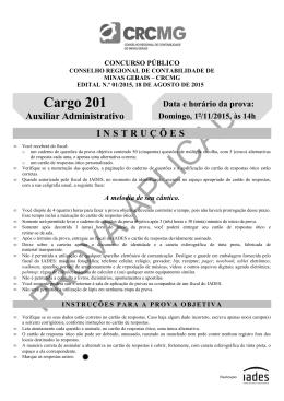 Prova objetiva aplicada em 1/11/2015 - Auxiliar Administrativo