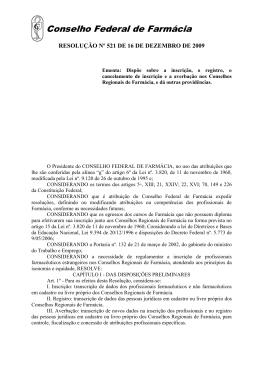 Resolução nº 521/2009 - Conselho Federal de Farmácia