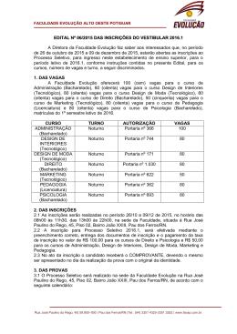 EDITAL Nº 06/2015 DAS INSCRIÇÕES DO VESTIBULAR