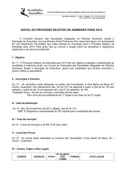 edital - Faculdades Integradas de Ciências Humanas, Saúde e