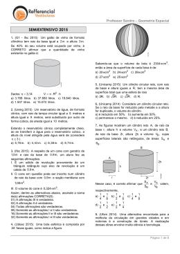 Lista de Exercícios - Geometria Espacial