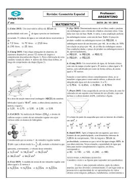 Lista de Revisão. Geometria Espacial