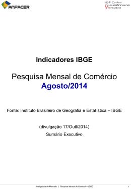 Pesquisa Mensal de Comércio Agosto/2014