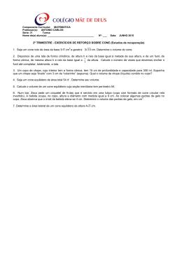 2º TRIMESTRE - EXERCÍCIOS DE REFORÇO SOBRE CONE