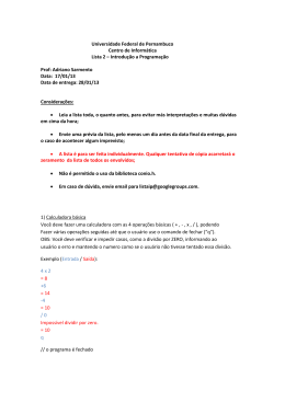 Universidade Federal de Pernambuco Centro de Informática Lista 2