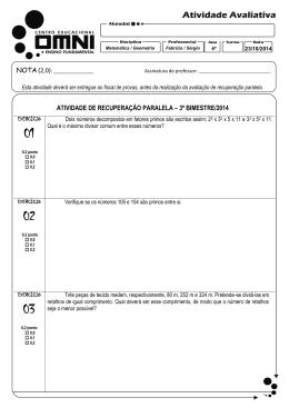 atividade de recuperação paralela – 3º bimestre/2014 nota(2,0)