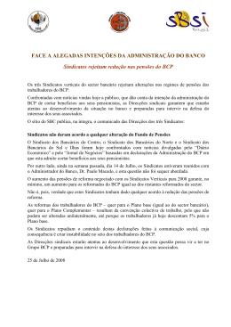 Sindicatos rejeitam redução nas pensões do BCP