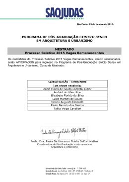 PROGRAMA DE PÓS-GRADUAÇÃO STRICTO SENSU EM