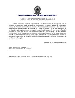 AVISO DE LICITAÇÃO - Conselho Federal de Biblioteconomia