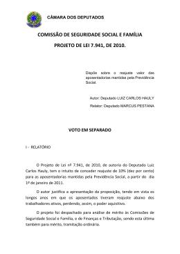 comissão de seguridade social e família projeto de lei 7.941, de 2010.