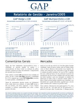 Relatório de Gestão – Janeiro/2005