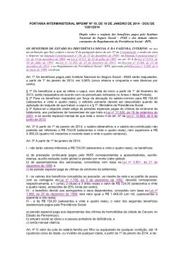 PORTARIA INTERMINISTERIAL MPS/MF Nº 19, DE 10 DE