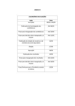ANEXO IV CALENDÁRIO DAS ELEIÇÕES Ação Data Inscrições 09