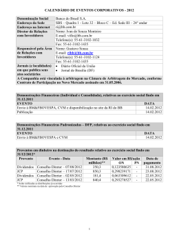 Calendário de Eventos Corporativos - 2012