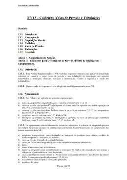 NR 13 – Caldeiras, Vasos de Pressão e Tubulações - sicepot-mg