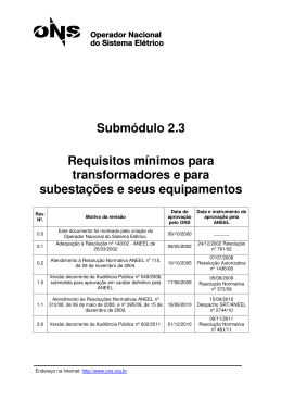 Submódulo 2.3 Requisitos mínimos para transformadores e