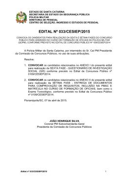 EDITAL Nº 033/CESIEP/2015 - Polícia Militar de Santa Catarina