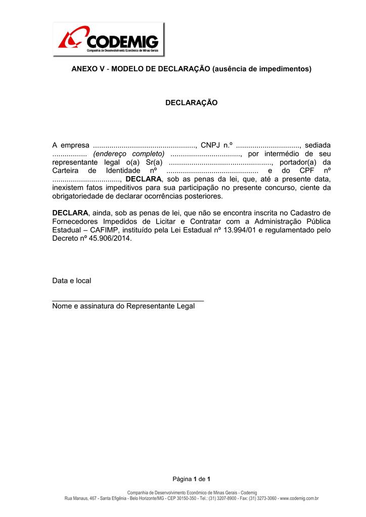 Anexo V Modelo De Declaração Ausência De