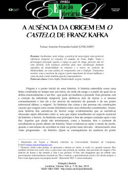 A AUSÊNCIA DA ORIGEM EM O CASTELO, DE FRANZ KAFKA