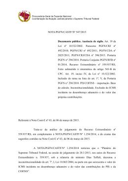 NOTA/PGFN/CASTF/Nº 547/2015 Documento público. Ausência de