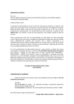 COMUNICADO de AUSÊNCIA - Arquidiocese Pouso Alegre