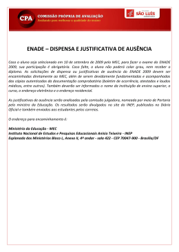 ENADE – DISPENSA E JUSTIFICATIVA DE AUSÊNCIA
