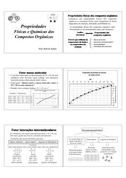 Propriedades Físicas e Químicas dos Compostos Orgânicos