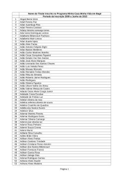 Listagem completa dos inscritos no Programa Minha Casa Minha