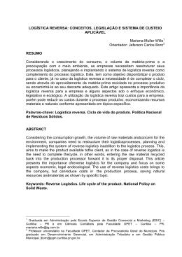 LOGÍSTICA REVERSA: CONCEITOS, LEGISLAÇÃO E SISTEMA DE