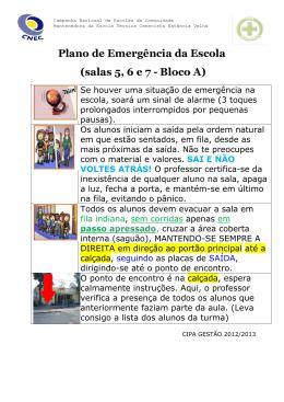 Plano de Emergência da Escola - CNEC