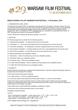 REGULATIONS of the 29th WARSAW FILM FESTIVAL, 11