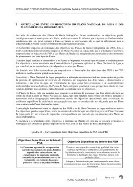 2 ARTICULAÇÃO ENTRE OS OBJECTIVOS DO PLANO NACIONAL