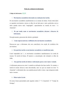 Ficha de avaliação do informante 1. Movimentos secundários