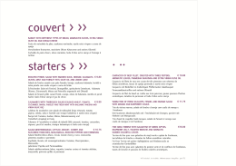 couvert > >> starters > >> . ..